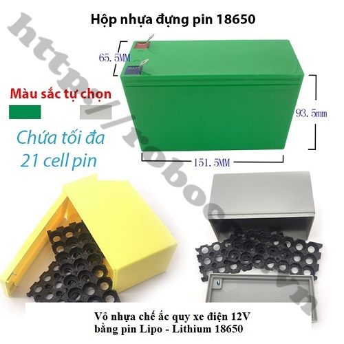 PPKP171 HỘP ĐỰNG PIN LIPO - LITHIUM 18650 CHẾ ACQUY XE ĐIỆN 12V