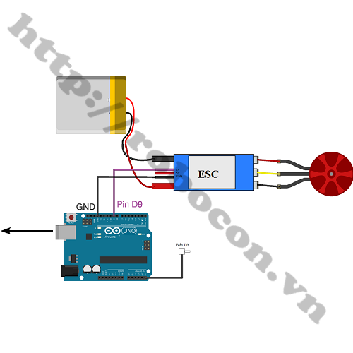 Sơ đồ đấu nối mạch ESC với arduino để điều khiển tốc độ động cơ