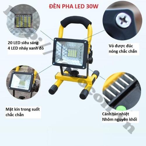 Đèn LED Tích Điện Để Bàn Siêu Sáng 30W