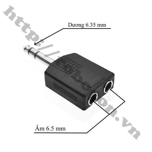 PKAT111 Đầu Chia Jack Audio 6.35MM Đực Ra Hai Đầu 6.5MM Cái Stereo
