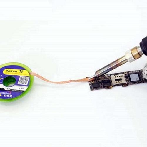 Sử dụng Dây Hút Chì Hàn 3mm-CP3015 để hút chì, thiếc trên mạch